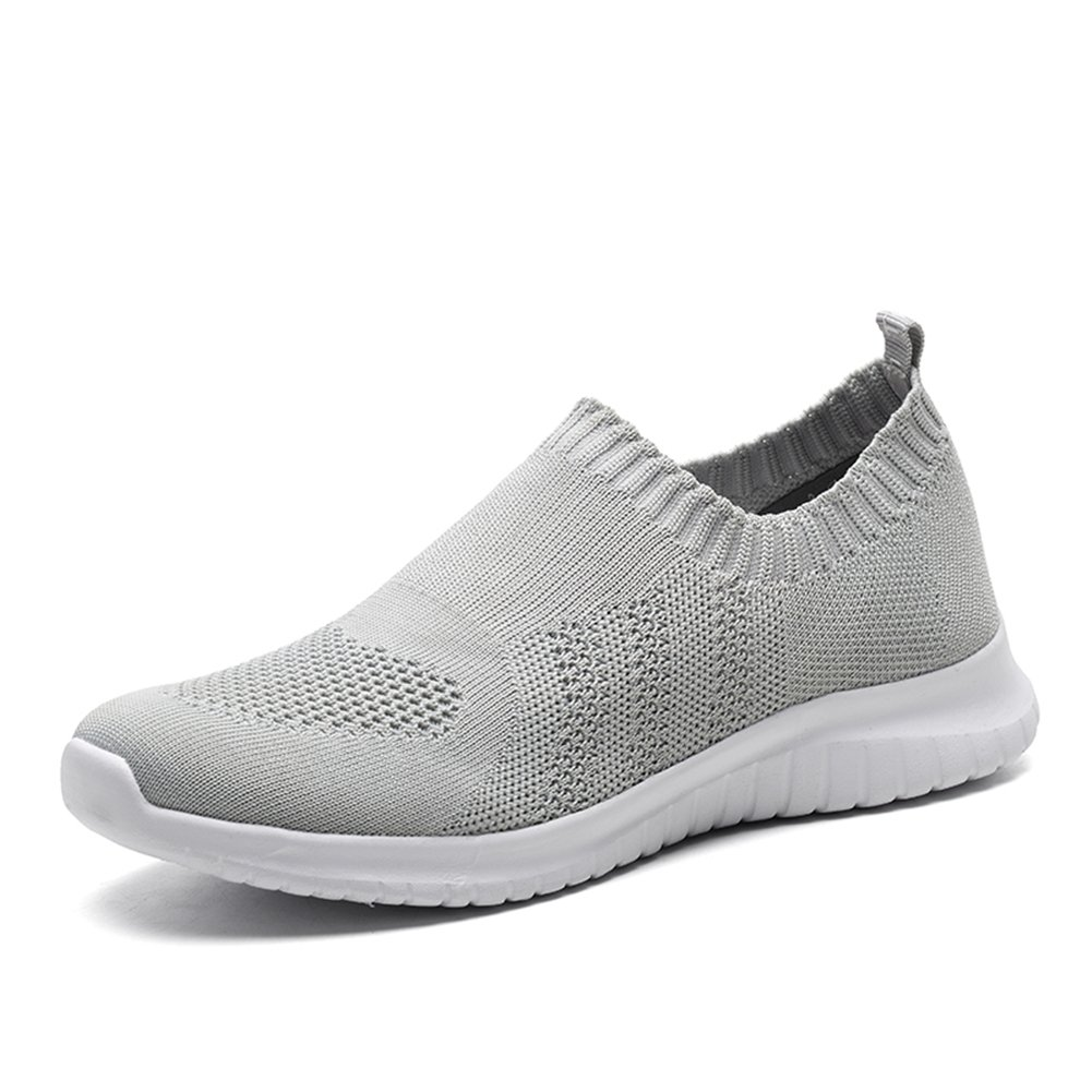 KONHILL Women's Lightweight Casual Walking Athletic Shoes Breathable Mesh Running Slip-On Sneakers, L.Gray, 37