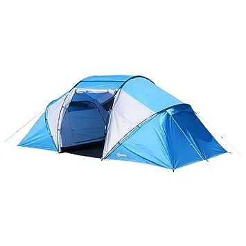 9f497fd0a6c667 Outsunny Tente de Camping familiale 4-6 Personnes 2 cabines fenêtre Grande Porte  4,