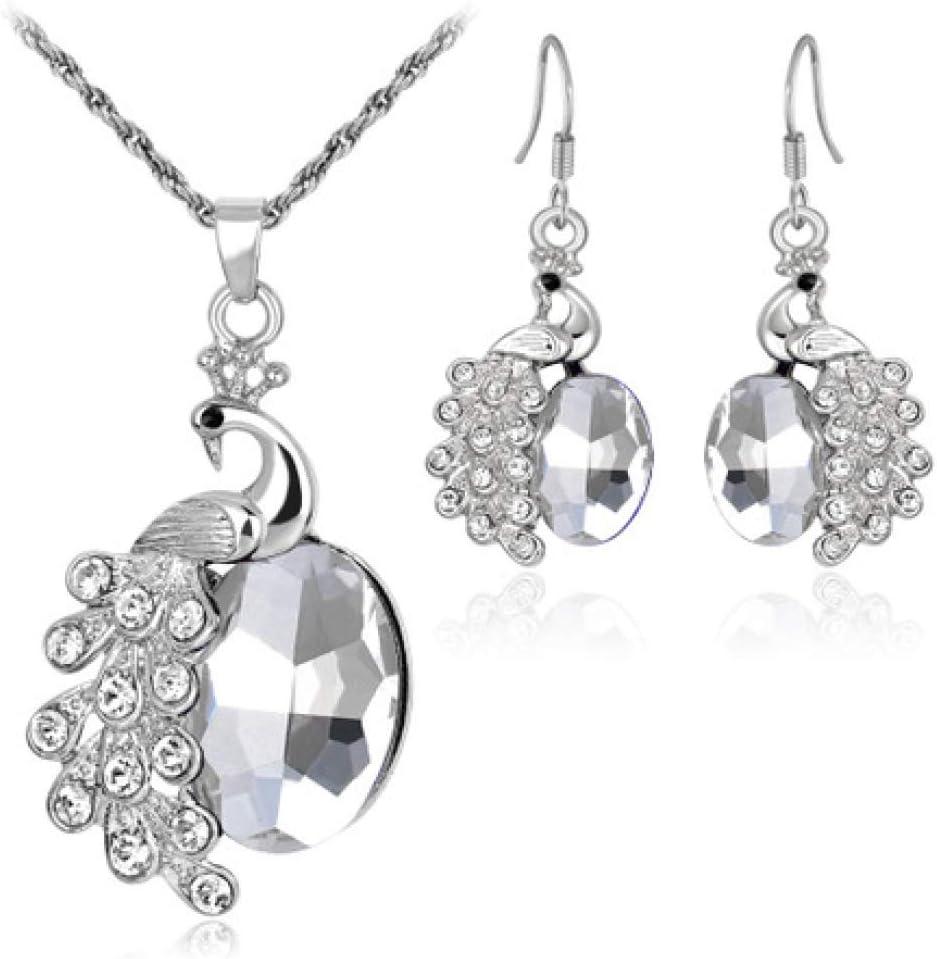 Women Necklace Pendant,Two-Piece Alloy Necklace Set Peacock Alloy Diamond Multi-Color Gemstone Section Circumference 45cm58cm MYYQ