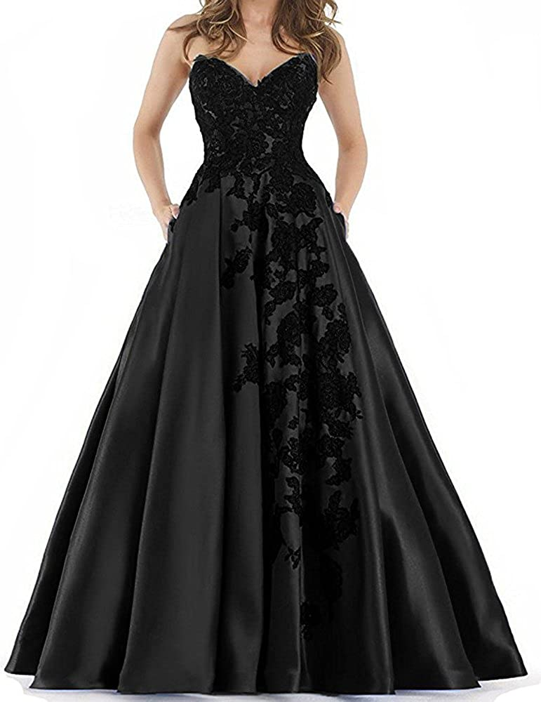 Black YNQNFS Sweetheart lace Applique Prom Dresses with Pockets Long Satin Evening Party Ball
