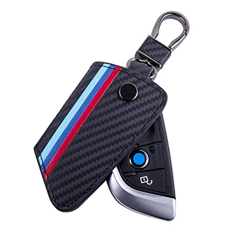 JKCOVER Key Fob Holder Protector Compatible with BMW X1 X5 X6 5 Series 7 Series, M-Colored Stripe Black Carbon Fiber Pattern Leather Key Cover with ...
