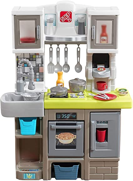 Step2 Contemporary Chef Kitchen | Colorful Plastic Play Kitchen | Kids  Kitchen Playset with 25-Pc Toy Accessories Set Included