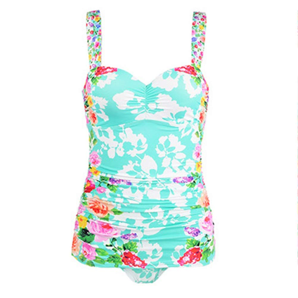 Water Green Large FENGMING Women's Ruched Plus Size One Piece Swimsuit Bathing Suit (color   Water green, Size   Xl)