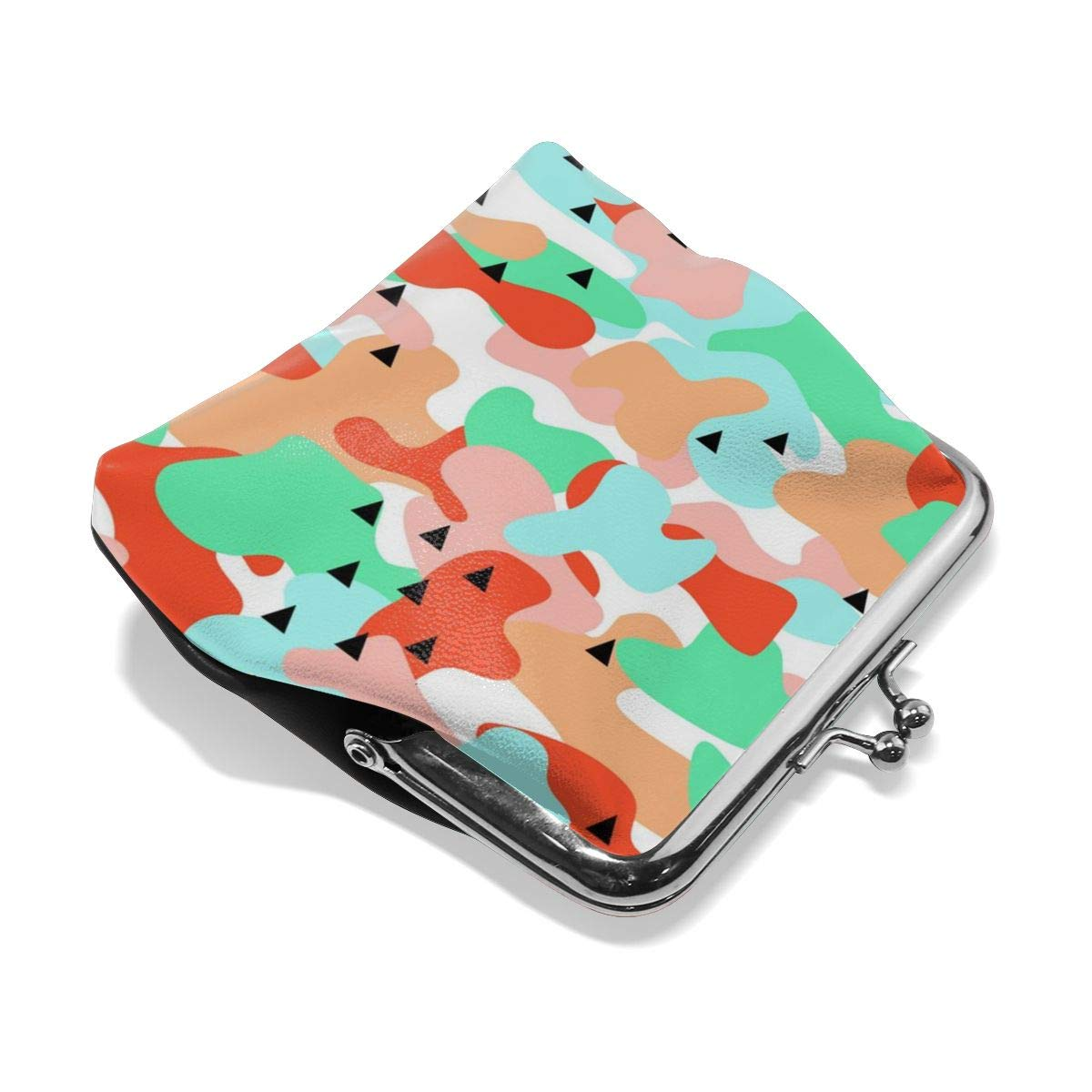 Architd Customized Cute Retro Coin Purse Girl Kiss And Buckle Change Purse Ladys HandbagCamouflage Seamless Pattern In A Blue Green Personality Metal Lock Purse