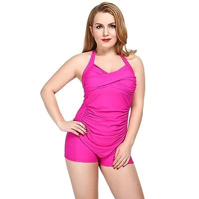4c042918c1 iRachel Womens Retro Boy-Leg One Piece Monokinis Swimsuit Plus-Size Bathing  Suit