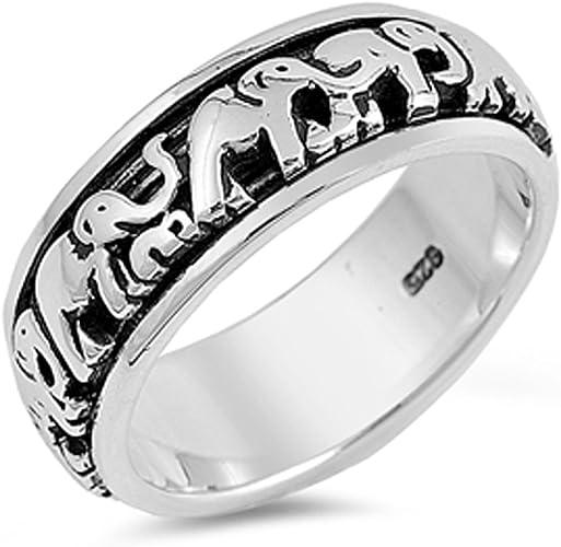 Amazon Com Elephant Spinner Eternity Wedding Ring New 925