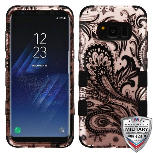 Galaxy S8 Plus Case, Mybat Tuff Phoenix Flower Dual Layer [Shock Absorbing] Protection Hybrid Rubberized Hard PC/Silicone Case Cover For Samsung Galaxy S8 Plus S8+, Rose Gold/Black (Phoenix Flower)