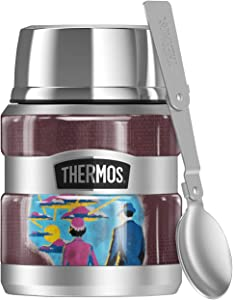 Beetlejuice Recently Deceased THERMOS STAINLESS KING Stainless Steel Food Jar with Folding Spoon, Vacuum insulated & Double Wall, 16oz