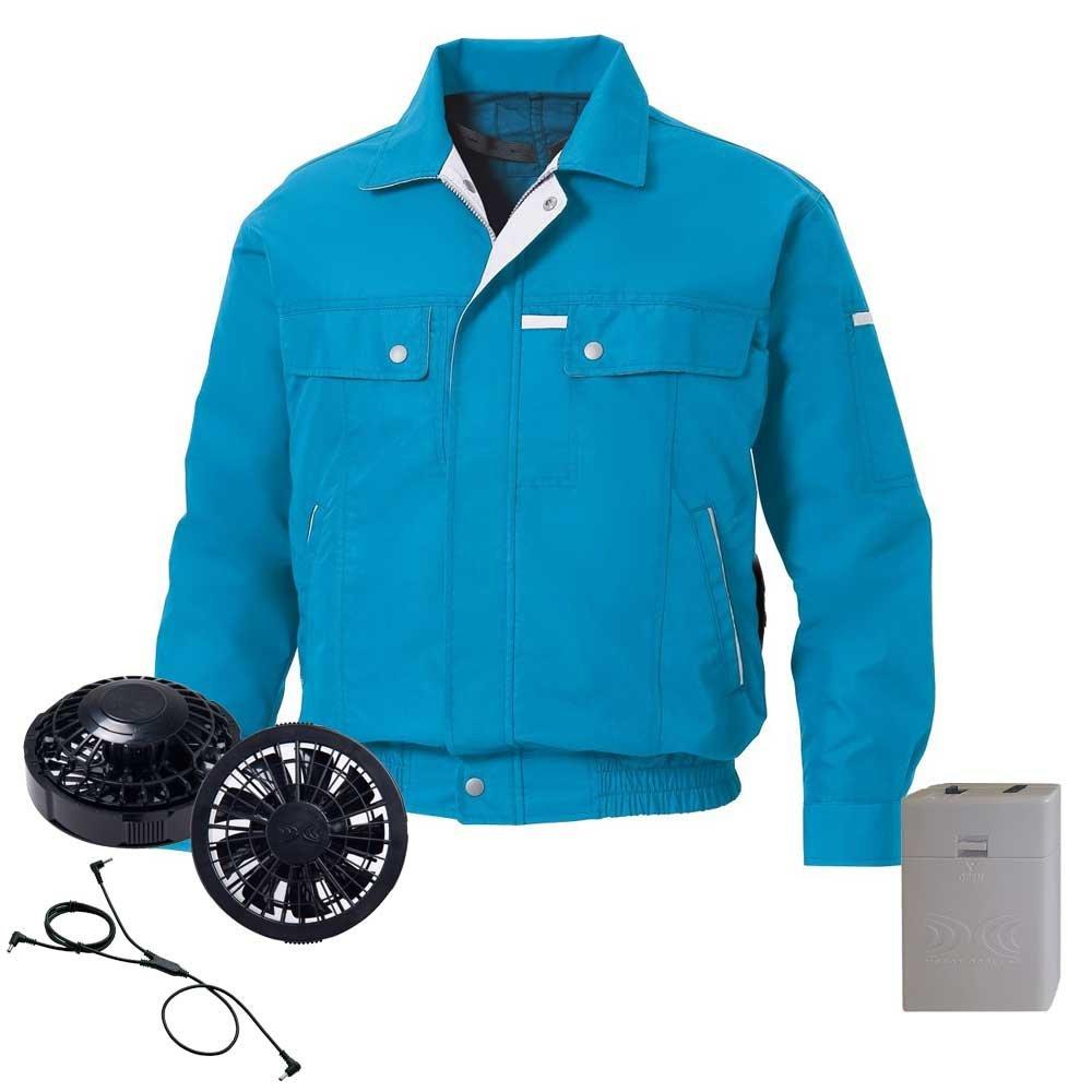 空調服 長袖ブルゾン黒ファン電池ボックスセット KU90451 B07DW69MYH L 37ターコイズブルー 37ターコイズブルー L