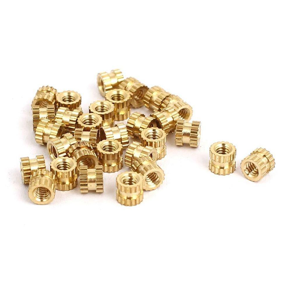 SODIAL(R) M2x3mmx3.5mm Female Threaded Brass Knurled Insert Embedded Nuts 30pcs
