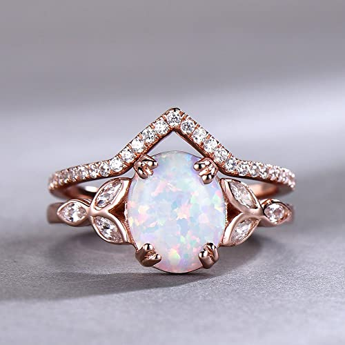 Opal Wedding Band.Opal Wedding Ring Set Opal Ring White Fire Opal Floral Engagment Ring Rose Gold Plated Unique Curve Wedding Band Silver Bridal Ring Set