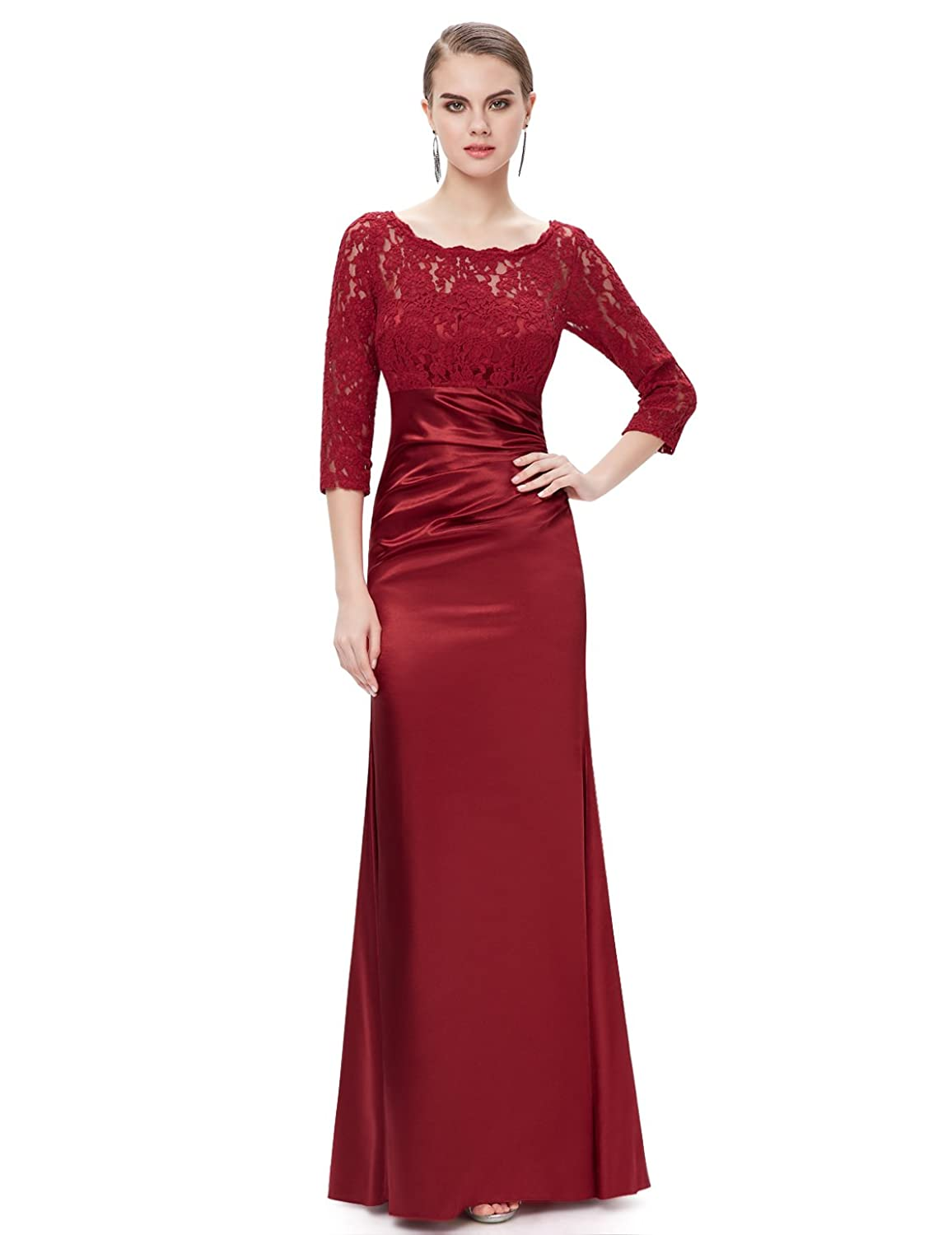 Ever Pretty Elegant Lace Long Sleeve Formal Floor Length Evening ...