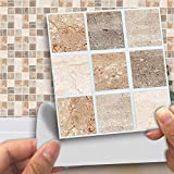 Fymural Tile Sticker for Kitchen & Bathroom Waterproof Anti-mold Backsplash Tile Sticker 4x4 Inch Colorful Marble Decals for Walls Stairs Deacoration 18PCS