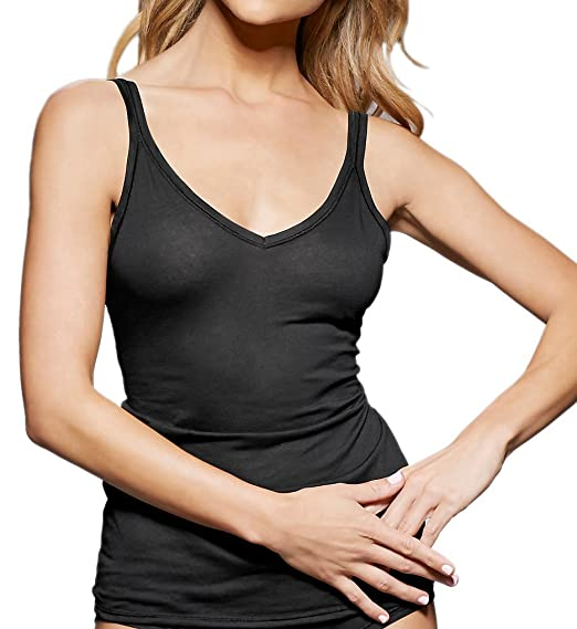 bb361d4e20226 fine lines Pure Cotton Thin Strap V-Neck Camisole (13RCA34) S Black