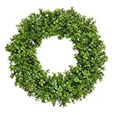 FAVOWREATH Vitality Series FAVO-W118 Handmade 17 inch Green Grass,Hello Letter,Grapevine Wreath for Summer/Fall Festival Front Door/Wall/Fireplace Every Day Nearly Natural Home Hanger Decor