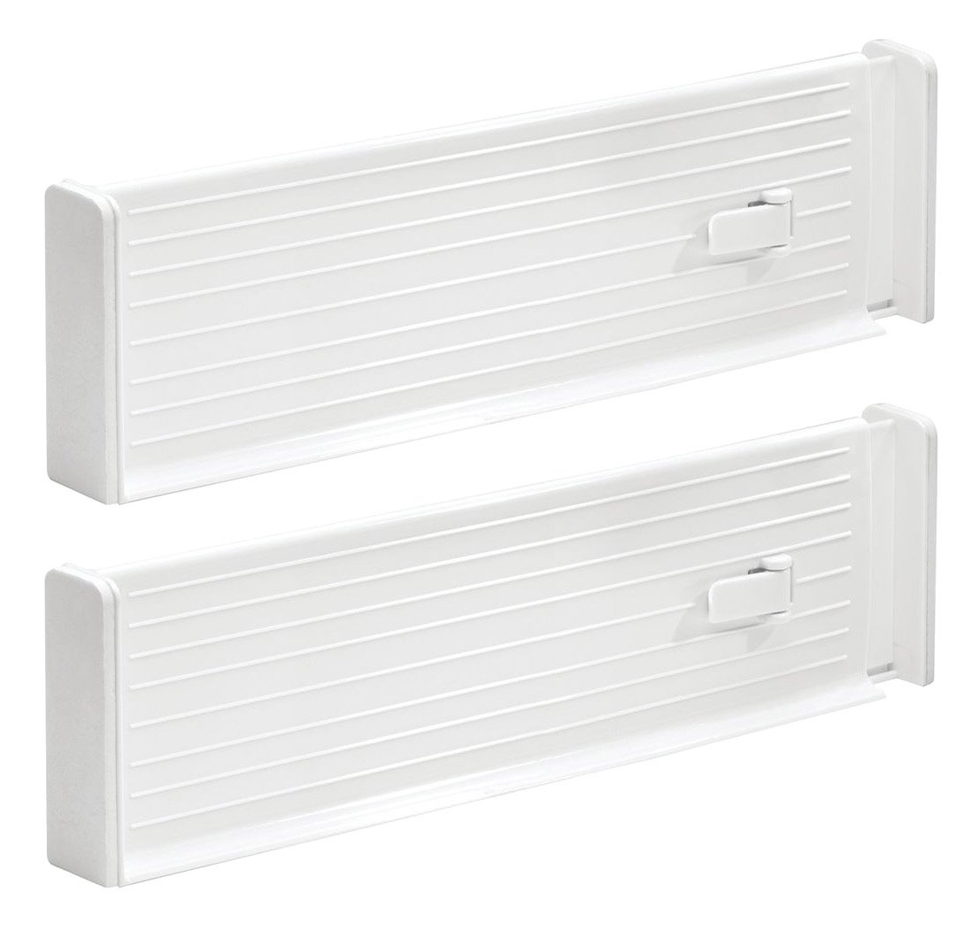 InterDesign Linus Adjustable Deep Drawer Organizer Divider for Kitchen or Dresser - White 62321