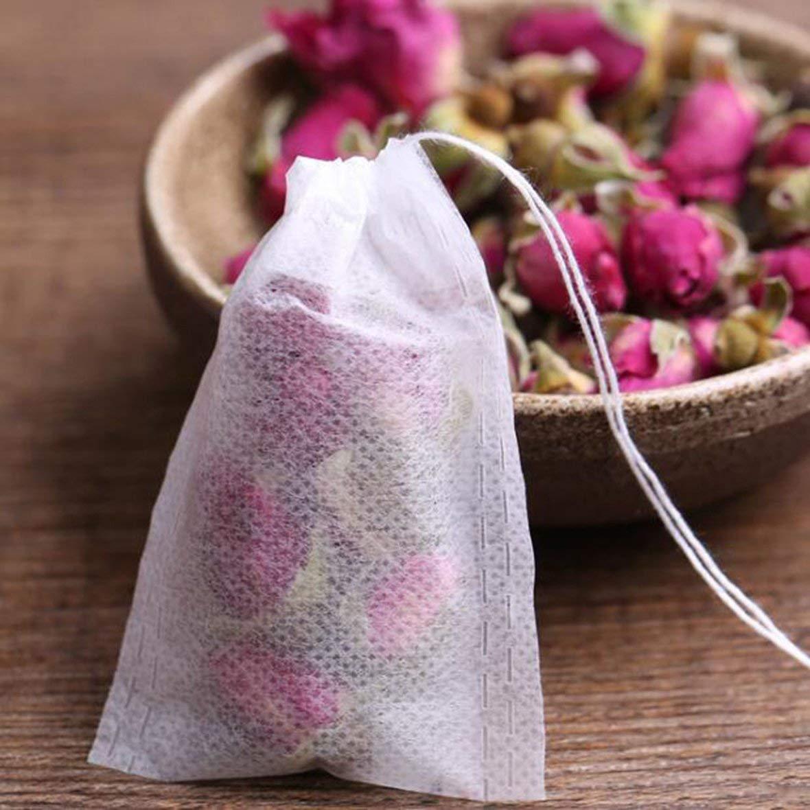 5.5x7cm White 100Pcs PET Paper Empty Drawstring Teabag Herb Tea Bag Pouch Loose Tea BagPouch