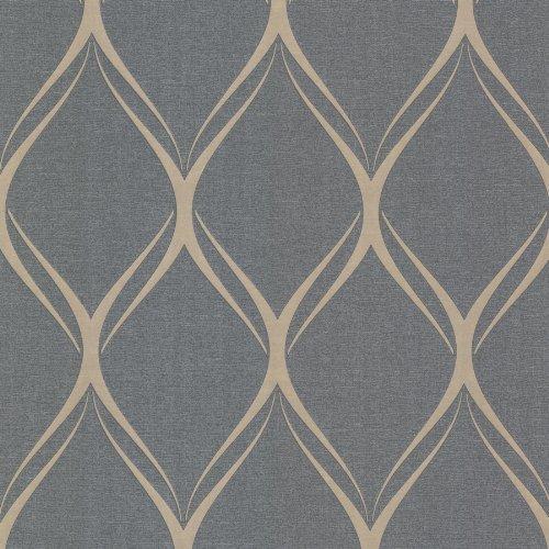 Decorline 482-Dl31079 Gustav Silver Geometric Wallpaper, Silver by Decorline