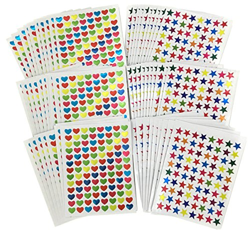 30 Sheets 1 cm Assorted Colors foil Star Stickers Labels And 30 Sheets 1 cm Assorted Colors Heart Shapes Stickers Labels ,Teacher Incentives Chart Stickers Total 60 Sheets