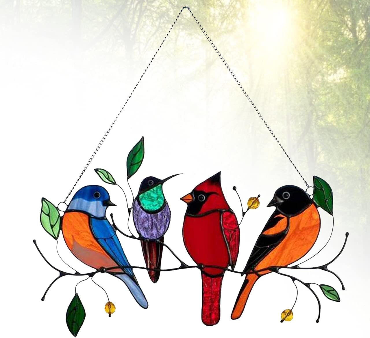 Multicolor Birds on a Wire Metal Suncatcher Window Panel, Hanging for Windows Doors Home Decoration and Gifts, Bird Series Art Ornaments Pendant