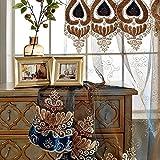 WINYY European Style Curtain Yarn Hotel Restaurant Decorative Drape Curtain Rod Pocket Top Embroidered Sheer Curtain Home Decor 1 Panel W75 x H84 inch