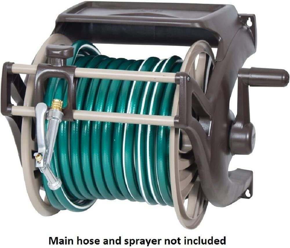 SD Life Round Garden Water Hose Reel Butler 225 ft Wall Mount Patio Hoses Rack Storage