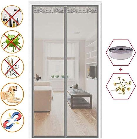 LAOFOYE Puertas Mosquitera Magnética 140x240cm, Fiberglass Mosca Pantalla con Iman Fácil de Ensamblar, para Puertas Correderas/Terraza - Gris A: Amazon.es: Hogar