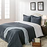 "Elegant Life All-season Minimal Linen &Cotton Diamond Stitching Bed Quilt Solid Colored Twin Size Quilts, 65""x88"", Dusty Blue"