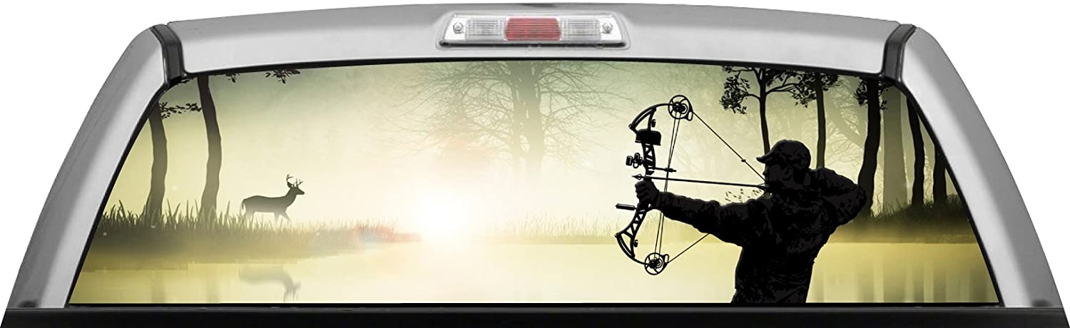 Amazoncom BOW HUNTER MISTY MORNING BUCK By ITIGD Truck Rear - Rear window hunting decals for trucksamazoncom truck suv whitetail deer hunting rear window graphic
