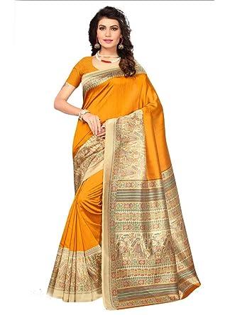 82ec2c2c21 Yellow, Multi Color Bhagalpuri Silk Saree: Amazon.in: Clothing & Accessories