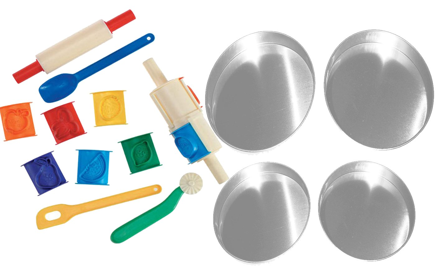 Easy Oven BAKe Cake Baking Kit Includes 4 Round Cake Pans & 11 Tools