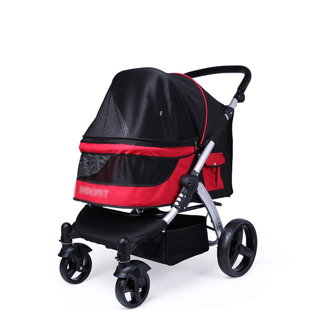 Red Pet Trolley Cart, Foldable Cart for Dogs Cats with Four Wheels Shockproof Pet Travel, Stroller One Touch to Assemble, Bearing Weight 35kg