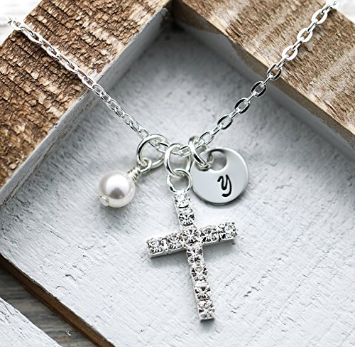Custom Cross Necklace - Girls Easter Gift - First Communion - Confirmation - Baptism Gift - Fast Shipping Easter Cross Necklace