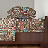 Roostery African 3pc Sheet Set Africa by Cassiopee Twin Sheet Set made with