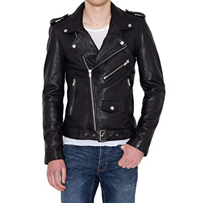 Aaron Craft Men's Lambskin Leather Bomber Biker Jacket at Amazon Men's Clothing store