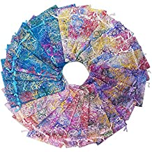 SumDirect Mixed Color Coralline Organza Gift Bags, Wedding Favor Party Jewelry Candy Pouches,4x6 Inches,Pack of 100