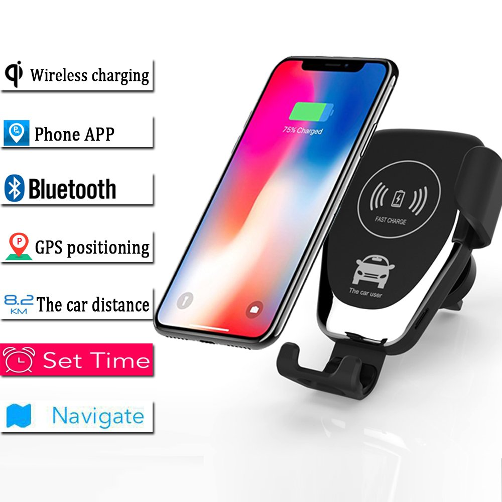 Wireless Car Charger,Qi Certified with GPS Positioning, Automatic Clamping Air Vent Cell Phone Holder Mount Fast Charging, Compatible iPhone X/Xs Max/Xs/XR/8/8 Plus, Samsung Galaxy Not (Black)