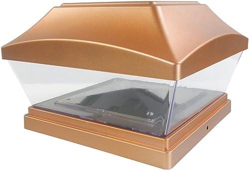 iGlow 1 Pack Copper Outdoor Garden 6 x 6 Solar SMD LED Post Deck Cap Square Fence Light Landscape PVC Vinyl Wood Bronze