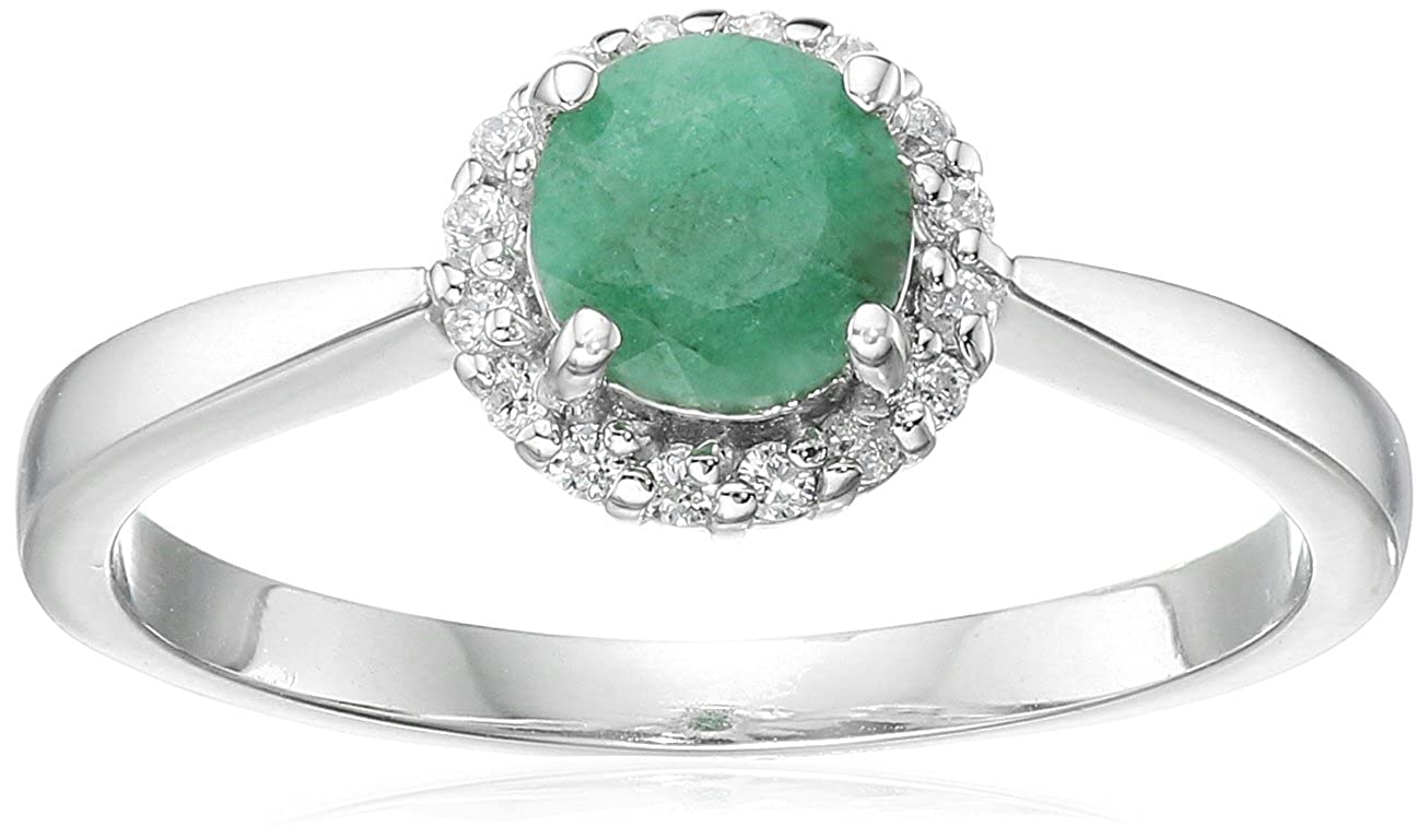 Sterling Silver Halo Emerald and Cubic Zirconia Ring FSR0029EM-5-Parent