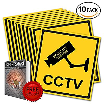 Rizmo 10 Pack Ultimate Security Sign for home/business security- Video Surveillance, Self Adhesive 4 X 4 Vinyl Decal - Indoor & Outdoor Use - UV Protected & Waterproof - Sleek. Free Ebook included.
