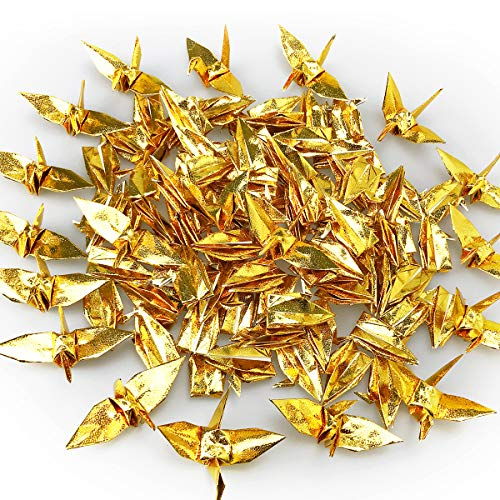 Cieovo 100 PCS Pearlescent Gold Origami Paper Crane, Folded DIY Japanese Crane Mobile String Garland for Wedding Party Backdrop Home Decoration