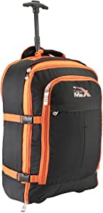 Cabin Max Malmo Expandable Laptop Backpack Trolley Hand Luggage Suitcase - 55x40x20cm 44 litres - Perfect Fit for Thomas Cook Flights! (Black Orange)
