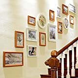 Photo Wall, Solid Wood European Staircase Photo Wall, Decorative Wall Combination, Mediterranean Creative Hotel Corridor Photo Frame Photo Wall ( Color : 1# )