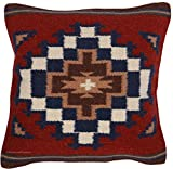 El Paso Designs Throw Pillow Covers 18 X 18- Hand Woven Wool in Southwest, Mexican, and Native American Styles- Hand Crafted Western Decorative Pillow Cases in Wool. (Burgundy and Navy)