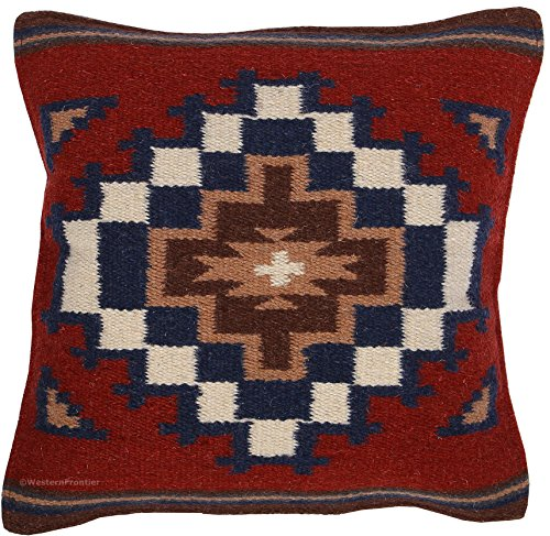 - El Paso Designs Throw Pillow Covers 18 X 18- Hand Woven Wool in Southwest, Mexican, and Native American Styles- Hand Crafted Western Decorative Pillow Cases in Wool. (Burgundy and Navy)