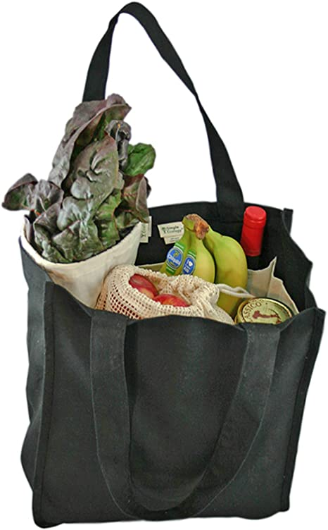Eco-friendly Cotton Grocery Tote with Hand Stitched Dolphin Made from Recycled Water Bottles