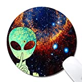 Natural Rubber Mouse Pad, Alien Painting Non Slip Rubber Mousepad Gaming Mouse Mat, Round 1