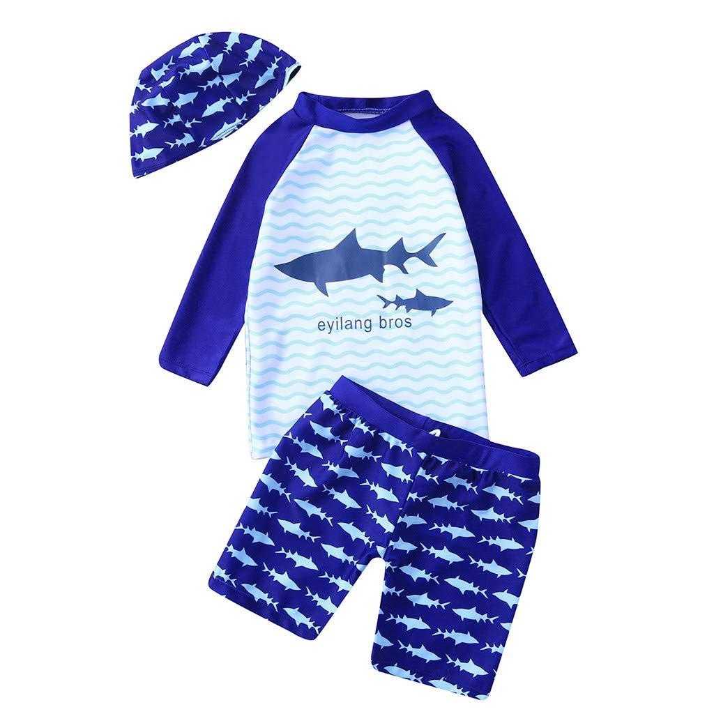 Toddler Kids Boys Swimsuit Rash Guard Set Cuekondy Cartoon Shark Print Sun Protection Shirt Tops+Shorts+Hat Bathing Suit(Blue-1,7-8 Years)
