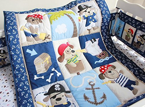 NAUGHTYBOSS Baby Bedding Set Cotton 3D Embroidery Pirates Of the Caribbean Quilt Bumper Bedskirt Fitted 7 Pieces Blue by NAUGHTYBOSS (Image #1)