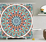 Ambesonne Moroccan Decor Collection, Floral Geometry Complex Design Medallion Middle Ages Symbolic Tribal Artwork, Polyester Fabric Bathroom Shower Curtain, 84 Inches Extra Long, Teal Orange White